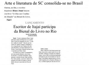 Jornal Diário da Cidade destaca o livro 21 Dias Nos Confins do Mundo do autor Henry Jenné