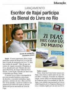 Jornal Diário DC destaca na edição do dia 11 de setembro de 2015 o lançamento, na Bienal do Rio, do livro 21 Dias Nos Confins do Mundo do autor catarinense Henry Jenné, editora Novo Século