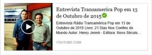 Entrevista Canal Transamérica Pop Henry Jenné Livro 21 Dias Nos Confins do Mundo