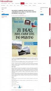 BrandPress publica matéria sobre o livro 21 Dias Nos Confins do Mundo do autor catariense Henry Jenné, editora Novo Século