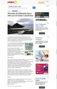 Jornal Página 3 publica matéria sobre o livro 21 Dias Nos Confis do Mundo do autor catarinense Henry Jenné, editora Novo Século