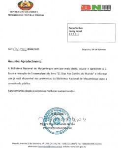 Carta da Biblioteca Nacional de Moçambique acusando recebimento do livro 21 Dias Nos Confins do Mundo do escritor brasileiro Henry Jenné