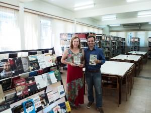 visita do escritor Henry Jenné autor do livro 21 Dias Nos Confins do Mundo a Biblioteca Pública de Biguaçú SC