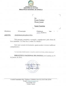 Carta recebida pelo autor Henry Jenné vinda da Biblioteca Nacional de Angola referente ao livro 21 Dias Nos Confins do Mundo