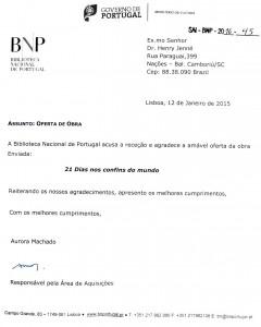Carta de agradecimento da Biblioteca Nacional de Portugal recebida pelo escritor Henry Jenné autor do livro 21 Dias Nos Confins do Mundo