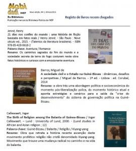Catalogo da Biblioteca Nacional de Guine Bissau com o livro 21 Dias Nos Confins do Mundo