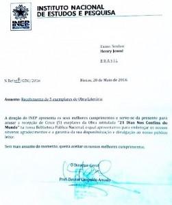Carta de agradecimento recebida pelo autor Henry Jenné vinda da Biblioteca Nacional de Guine Bissau referente o livro 21 Dias Nos Confins do Mundo