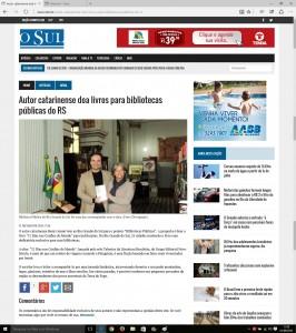 Jornal O SUL de Porto Alegre publica no dia 01 de Junho de 2016 matéria sobre o projeto pessoal Bibliotecas Públicas do escritor Henry Jenné