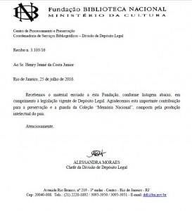 Carta referente ao Recibo de Registro do livro 21 Dias Nos Confins do Mundo na Fundação da Biblioteca Nacional