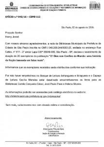 Carta recebida da Rede Municipal de Bibliotecas Públicas da cidade de SP referente ao recebimento dos exemplares do Livro 21 Dias Nos Confins do Mundo
