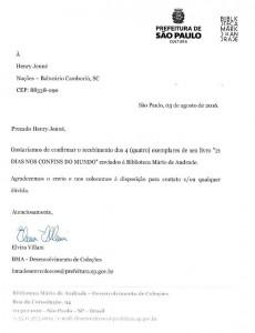 Carta recebida da Biblioteca Mário de Andrade de São Paulo referente ao recebimento dos exemplares do Livro 21 Dias Nos Confins do Mundo