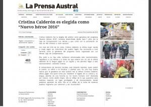 jornal la prensa austral cristina calderon eleita nova heroina do chile