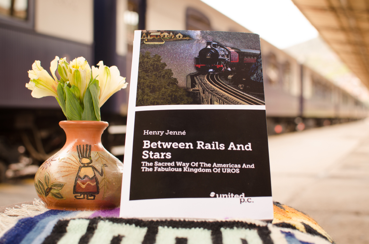"""A wonderful picture of the book """"Between Rails and Stars"""" received from Cusco, taken at the Cusco Train Station. Perurail and one of its main routes (from Cusco to Puno – Titicaca Lake) served as scenery for the book. My sincere thanks to Perurail Company for the picture."""